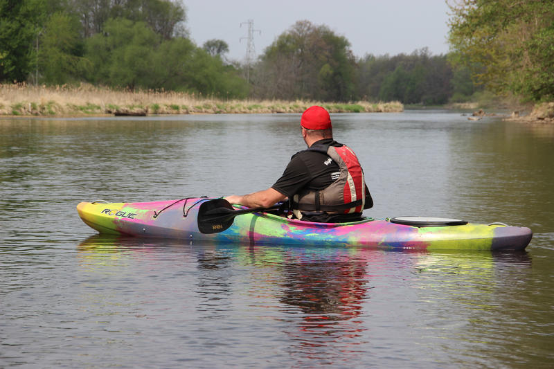 A river guide on the Kalamazoo River.