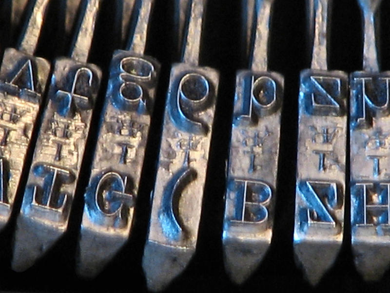 Letters on a typewriter.