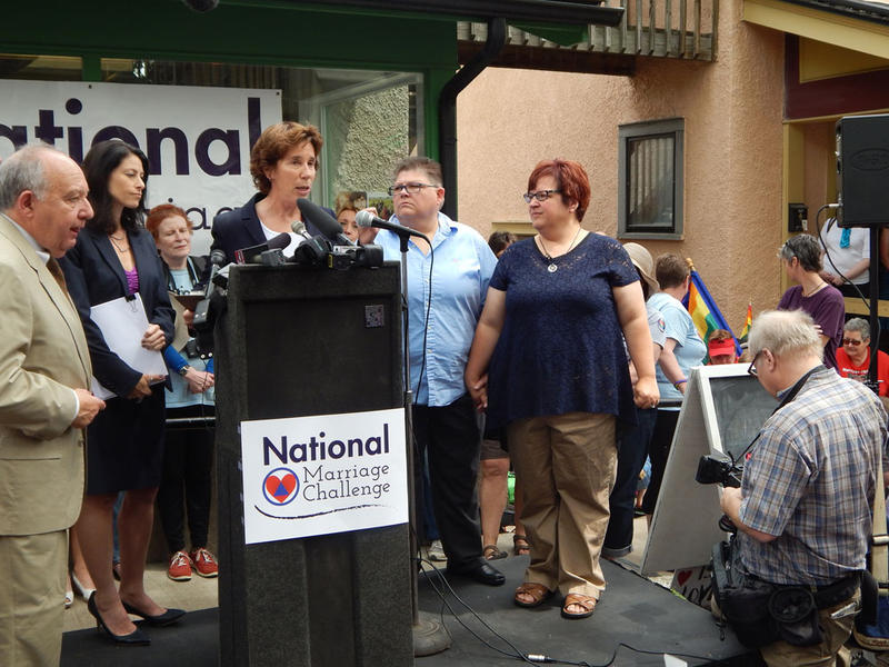 April DeBoer and Jayne Rowse and their supporters hold a press conference in Ann Arbor.