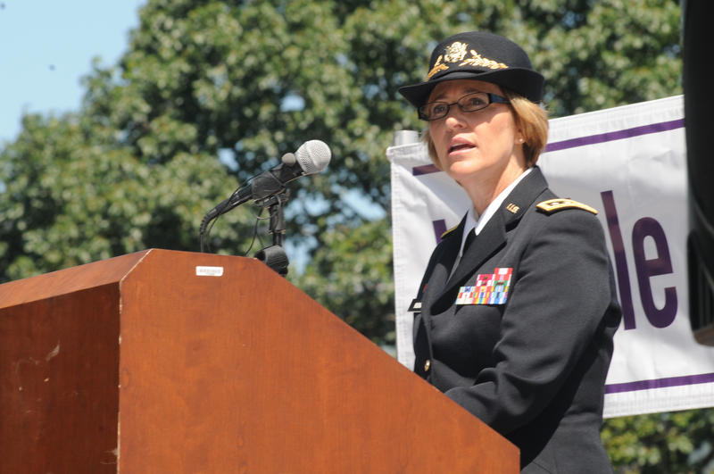 U.S. Army Surgeon General Lt. Gen. Patricia Horoho speaks on Capitol Hill for National Post-Traumatic Stress Disorder Awareness Day June 27, 2012