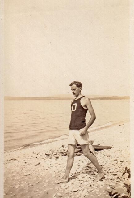 Herrmann on Lake Michigan beach near Bay View.