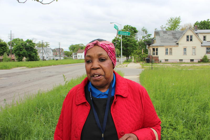 57-year-old Christina Lumpkin heads to work at DTE Energy.