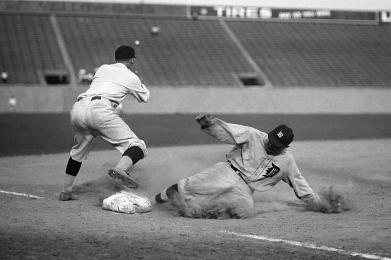 Ty Cobb safe at third after making a triple on August 16, 1924.