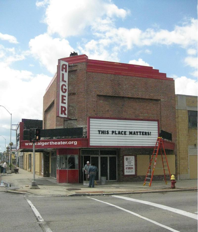 The Alger Theater at present day on the corner of Warren and East Outer Drive.