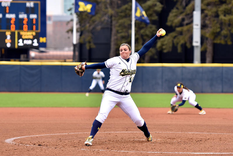 Michigan softball playing earlier this year in Ann Arbor.