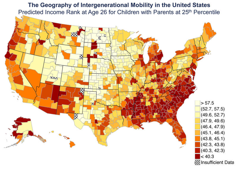 "Map showing the ""Predicted Income Rank at Age 26 for Children with Parents at 25th Percentile."""