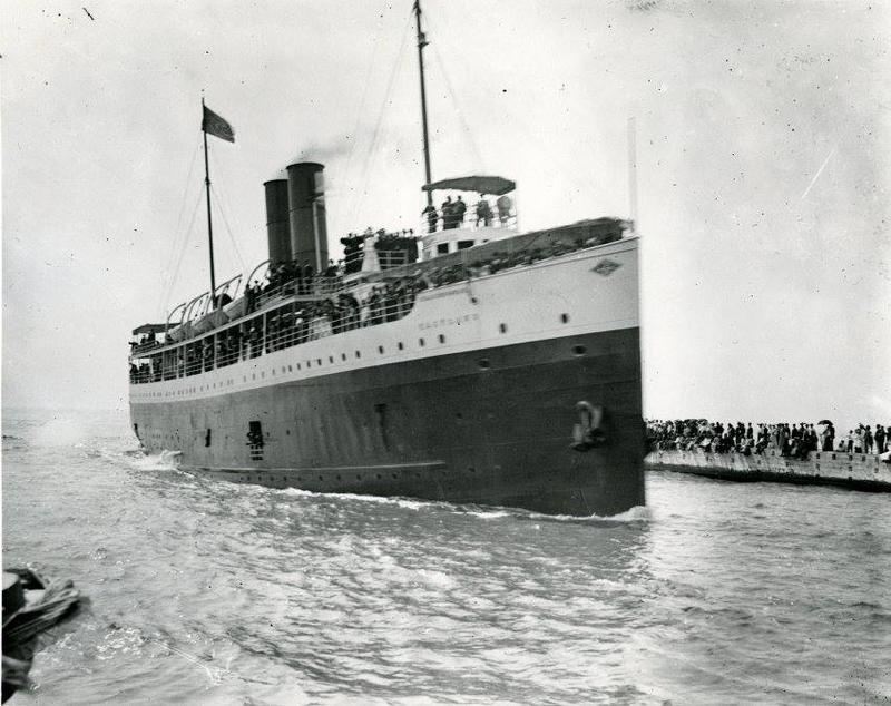 Eastland comes into the South Haven harbor soon after she was built in 1903.