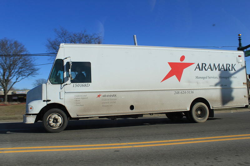 Aramark uniforms delivery truck, Westland Michigan