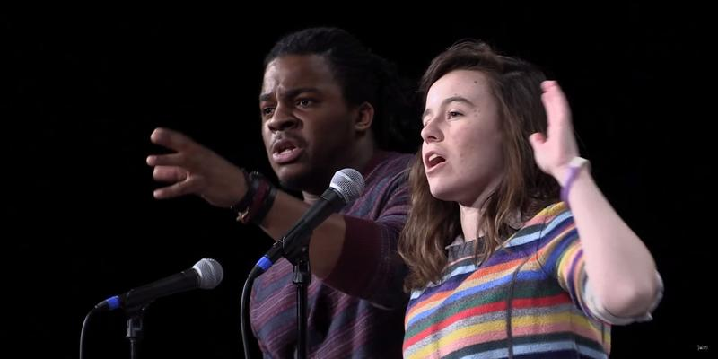 "Darius Simpson and Scout Bostley perform ""Lost Voices"" at the 2015 College Unions Poetry Slam Invitational"