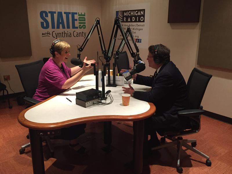Sen. Gary Peters and Cynthia Canty in the Stateside stdio
