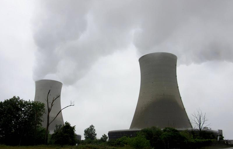 The twin cooling towers at DTE's Fermi-2 nuclear power plant.