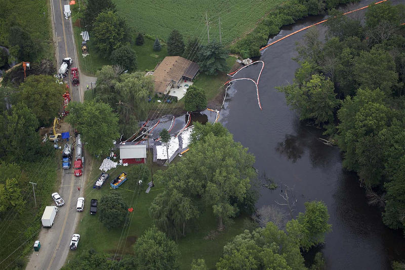 This aerial photo of the 2010 Enbridge oil spill was taken five days after the initial spill. We're approaching the five-year anniversary now.