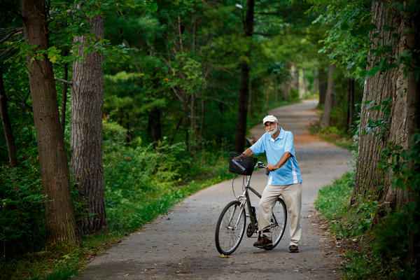 Mike Norton on Boardman Lake portion of the TART Trail in Traverse City.