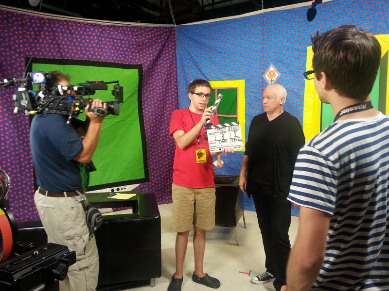 Joey Travolta and campers on the set of their short film