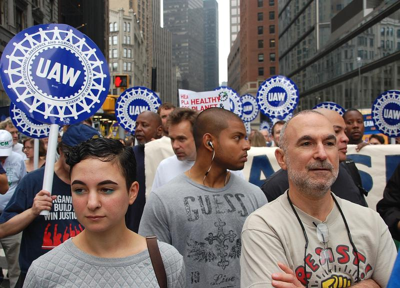 United Auto Worker contingent at a protest in New York.