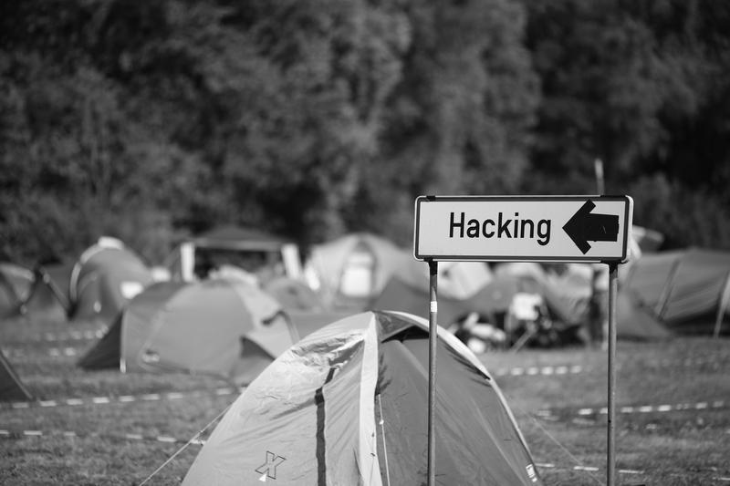 "A ""hacking"" sign."