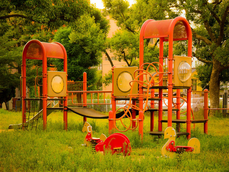 Unlike traditional playgrounds like the one pictured, playscapes aim to incorporate more of a landscape-based design.
