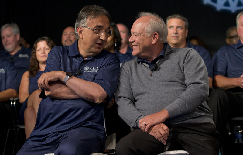 Fiat Chryler CEO Sergio Marchionne, left, and UAW President Dennis Williams.