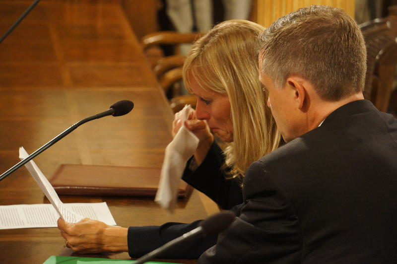 State Representative Cindy Gamrat (R-Plainwell) weeps as she delivers an apology to the House committee considering disciplinary action against her and state Representative Todd Courser (R-Lapeer).