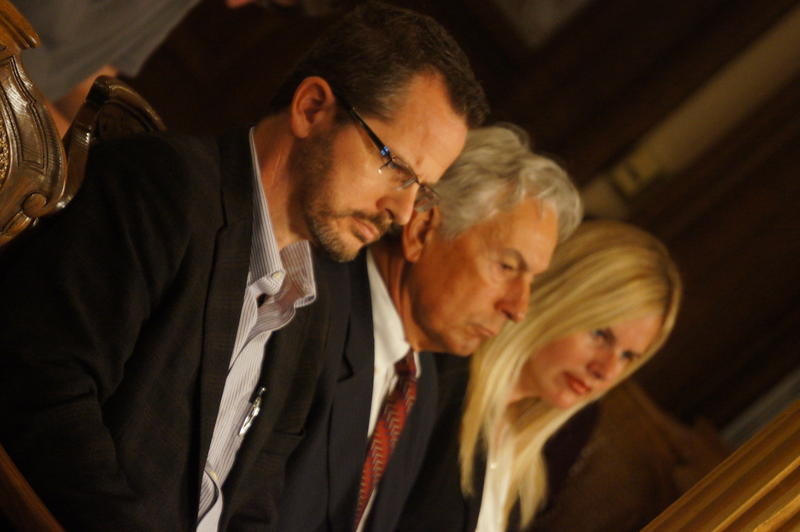 "State Representative Todd Courser (R-Lapeer) sits in the audience with his legal team as profanity-laced ""controlled burn"" e-mail is read into the record during hearing on possible disciplinary action."