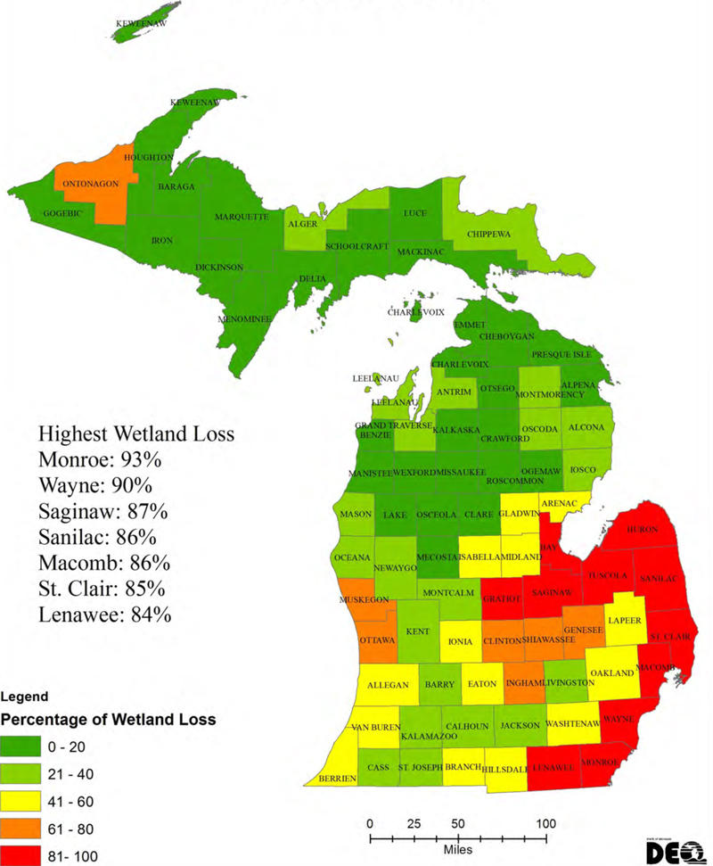 Wetland loss by county in Michigan from 1800 to 2005.