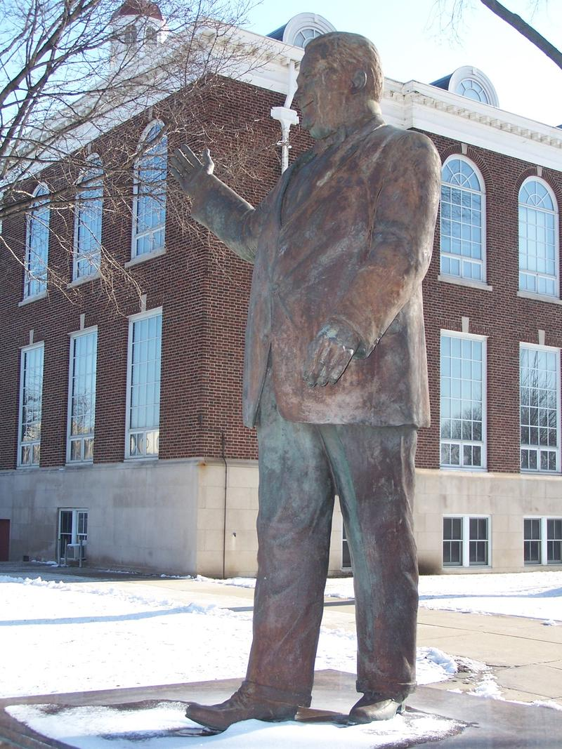 The statue of Orville Hubbard at Dearborn City Hall was taken down today.