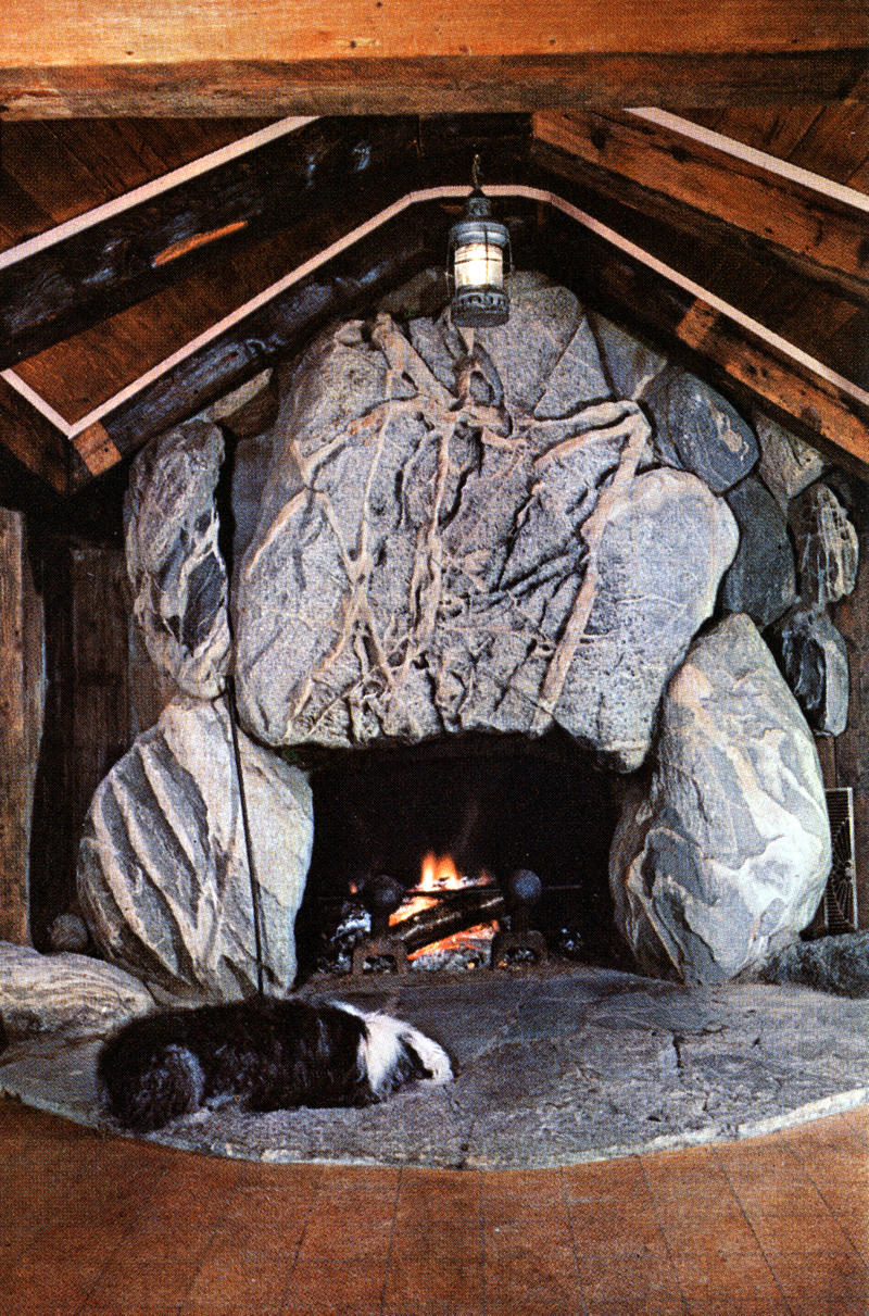 The Weathervane Restaurant fireplace, including a nine-ton boulder capstone