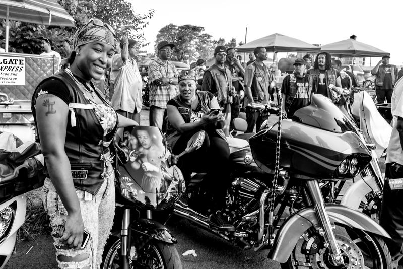 The bikers help maintain the peaceful feel of the event