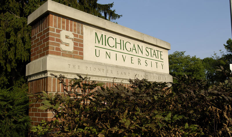Michigan State University sign.
