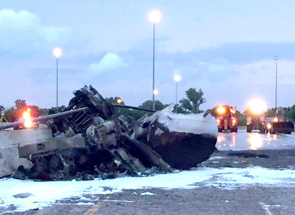 The remains of the tanker that exploded on I-75 on August 20. The truck's driver was killed.