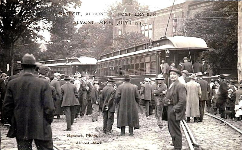 First interurban cars on the Detroit, Almont and Northern Railroad. Almont, Michigan, July 1, 1914