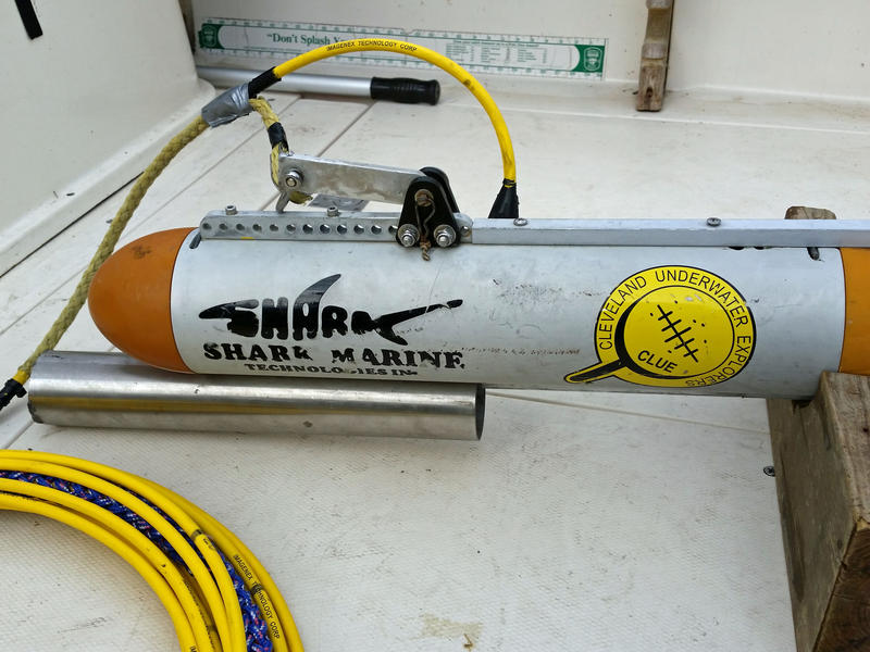 The towfish Kowalczk uses to scan the lake bottom for shipwrecks.