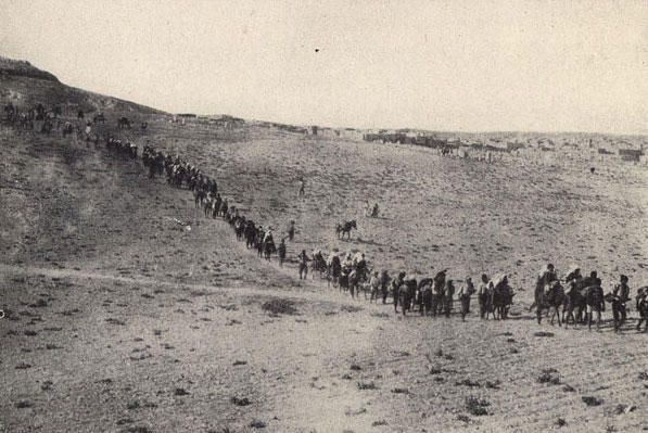 Armenians being deported from Turkey ca. 1915.