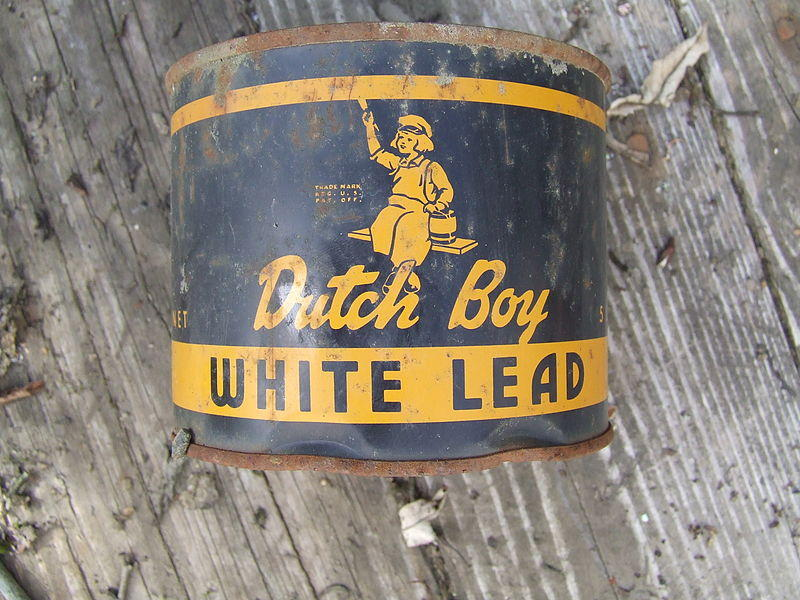 "The front of a ""Dutch Boy White Lead"" paint can. Dust from old paint is still one of the major ways kids get exposed to lead."