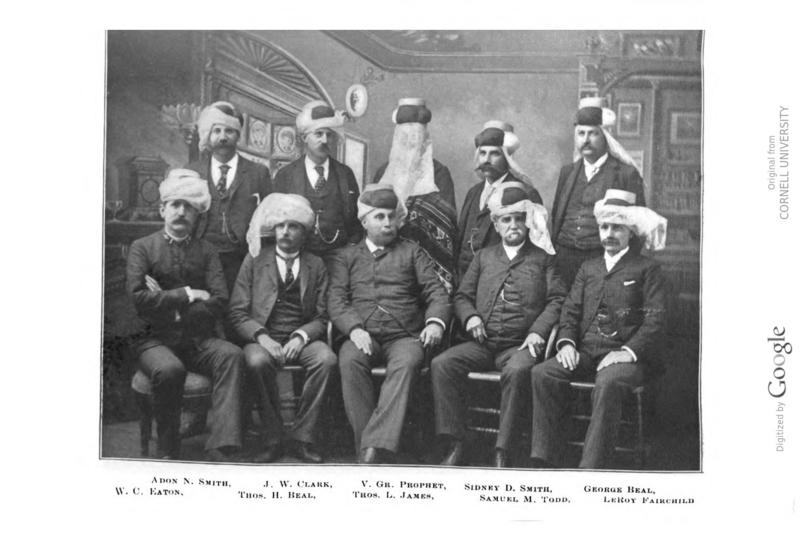 The officers of the Mystic Order of Veiled Prophet of the Enchanted Realm, 1890 including the founder, Leroy Fairchild on the right seated.