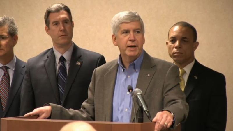 Gov. Rick Snyder taking questions this morning after the announcment.