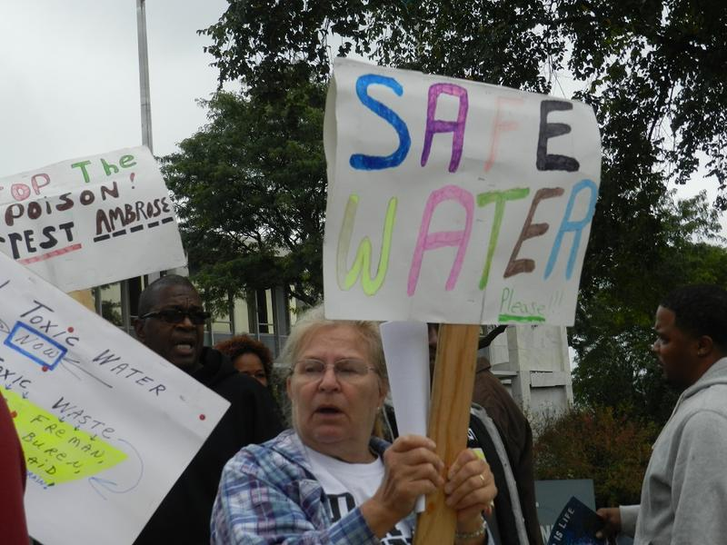 A Flint water protest.