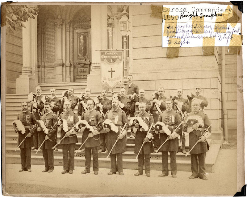 The Eureka Commandery of the Knights Templar in front of the Library on Library Street downtown Detroit in 1890. This was an African American commandery.