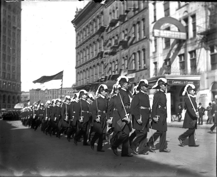 Members of Knights Templar commandery in parade in Detroit. Date unknown.