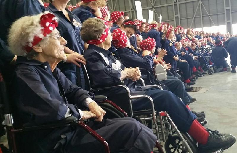 Joining the turnout at the Willow Run plant today were 43 women who worked as Rosie the Riveters during World War II.