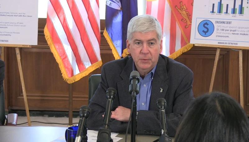 Gov. Snyder at a press conference this month announcing his plan to overhaul the Detroit Public School District.