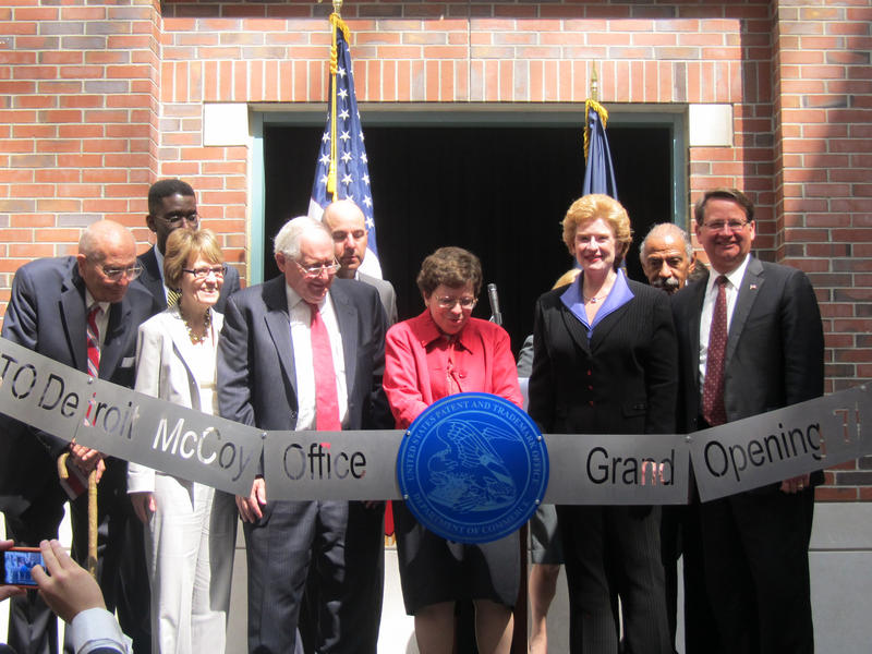Ribbon cutting ceremony for the new Elijah J. McCoy Patent and Trademark Office in Detroit in 2012