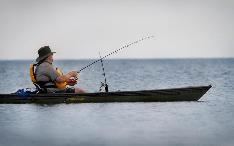 Fishing on Lake Michigan.