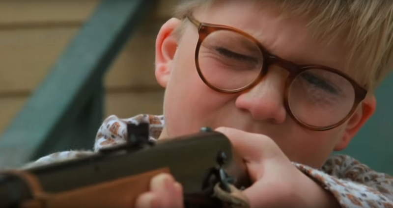 "Ralphie taking aim in 1983's ""A Christmas Story"""