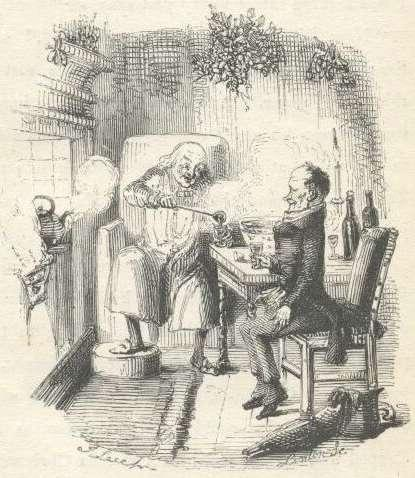 "Scrooge and Bob Cratchit from ""A Christmas Carol"" by Charles Dickens."