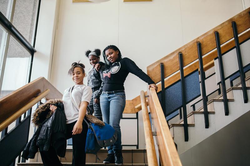 Middle school girls at Sampson-Webber Middle School.