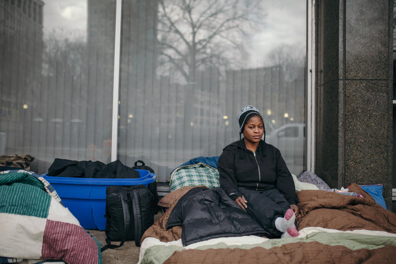 Martell McCoy sleeps outside of Central Methodist Church after being evicted from her home.