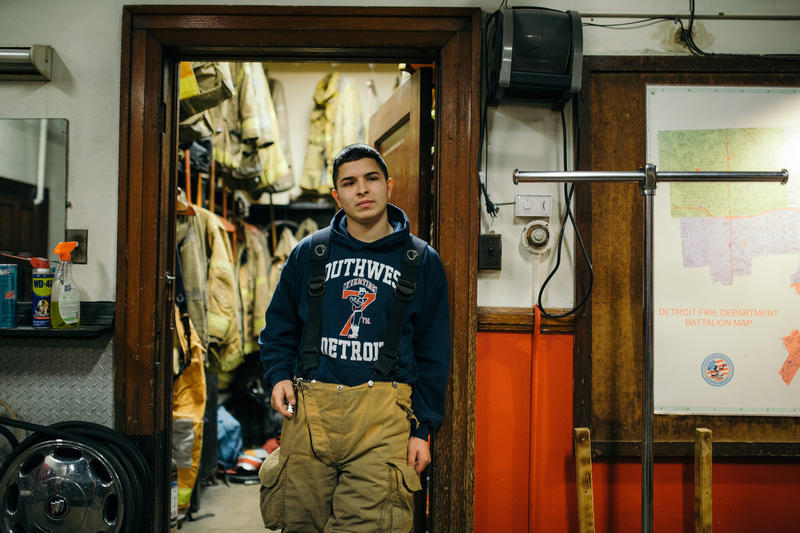 Oscar Tapia, a new member of the Detroit Fire Department, at Engine 23, Squad 3.