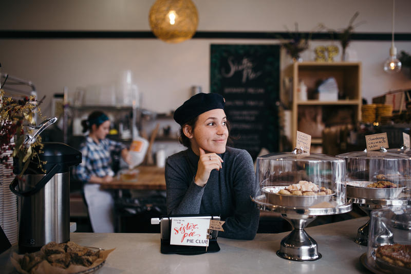 Jane Scott greets customers at Sister Pie.