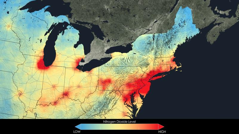 2011 average nitrogen dioxide concentrations for the Northeast.